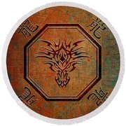 Tribal Dragon Head In Octagon With Dragon Chinese Characters Round Beach Towel