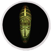 Tribal Mask Round Beach Towel by David Dehner