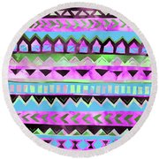 Tribal Pattern 01 Round Beach Towel