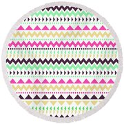 Tribal Pattern 02 Round Beach Towel