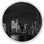 Tribute In Light  # 7 - B  And  W Round Beach Towel