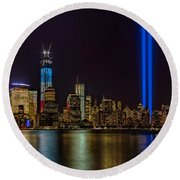 Tribute In Lights Memorial Round Beach Towel by Susan Candelario