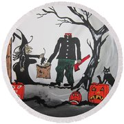 Trick Or Treat. Round Beach Towel