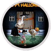 Trick Or Treat Time For Little Ducks Round Beach Towel