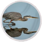 Tricolor Heron Hunting Round Beach Towel