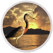 Tricolored Heron At Sunset Round Beach Towel