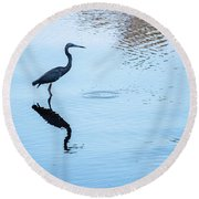 Tricolored Heron Silhouette Round Beach Towel