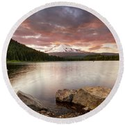 Trillium Lake Sunset Round Beach Towel