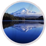 Trillium Lake With Reflection Of Mount Round Beach Towel