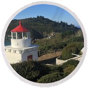 Trinidad Head Memorial Lighthouse, California Lighthouse Round Beach Towel