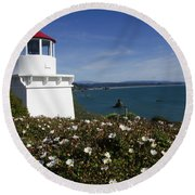 Trinidad Lighthouse California Round Beach Towel