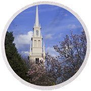 Trinity Church In Spring Round Beach Towel