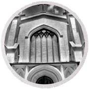 Trinity Episcopal Cathedral Black And White Round Beach Towel