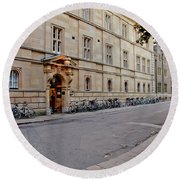 Trinity Hall In The Evening. Cambridge. Round Beach Towel