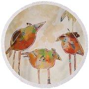 Trio Birds Round Beach Towel