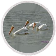 Trio Pelicans Round Beach Towel