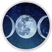 Triple Moon Milkyway Round Beach Towel