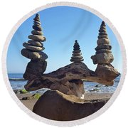 Triple Stack On Driftwood Round Beach Towel