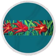 Triple Tease Tulips Round Beach Towel