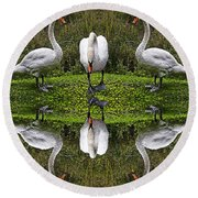 Triplets In Reflection Round Beach Towel