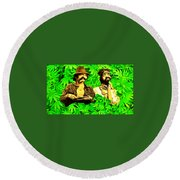 Trippin With Cheech And Chong Round Beach Towel