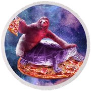 Trippy Space Sloth Turtle - Sloth Pizza Round Beach Towel