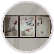 Triptic White Orchids On Light Background Round Beach Towel