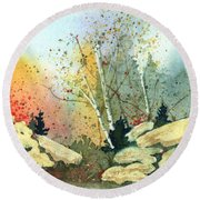 Triptych Panel 3 Round Beach Towel
