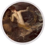 Triton Carrying A Nereid On His Back 1875 Round Beach Towel