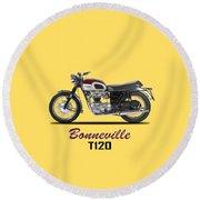Triumph Bonneville T120 1968 Round Beach Towel