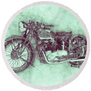 Triumph Speed Twin 3 - 1937 - Vintage Motorcycle Poster - Automotive Art Round Beach Towel
