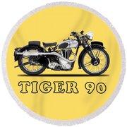 Triumph Tiger 90 1937 Round Beach Towel