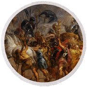 Triumphal Entry Of Henry Iv In Paris Round Beach Towel