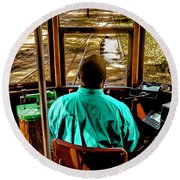 Trolley Driver In New Orleans Round Beach Towel