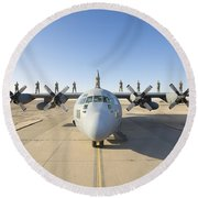 Troops Stand On The Wings Of A C-130 Round Beach Towel