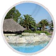 Tropic Bar Vacation Summer Scene Round Beach Towel
