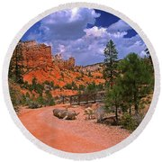 Tropic Canyon Bridge In Bryce Canyon Np Utah Round Beach Towel