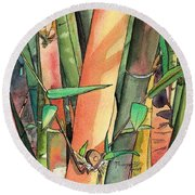 Tropical Bamboo Round Beach Towel by Marionette Taboniar