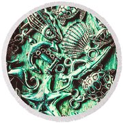 Tropical Bay Elements Round Beach Towel