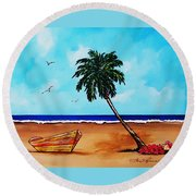 Tropical Beach Scene Round Beach Towel