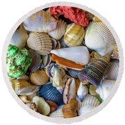 Tropical Beach Seashell Treasures 1550b Round Beach Towel