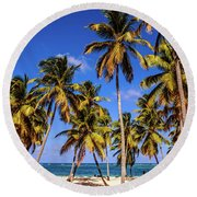 Palms On The Beach Round Beach Towel