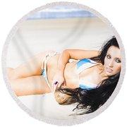 Tropical Beach Woman Round Beach Towel