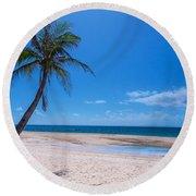Tropical Blue Skies And White Sand Beaches Round Beach Towel