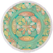Tropical Color Abstract Round Beach Towel