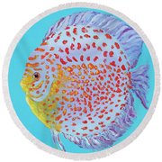 Tropical Discus Fish With Red Spots Round Beach Towel