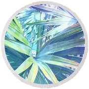Tropical Dreams In Pastel Purple-blue Round Beach Towel