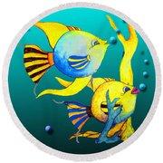 Tropical Fish Fun Round Beach Towel