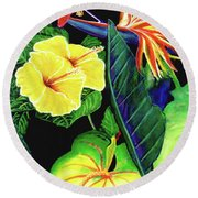Tropical Flower Arrangement #251 Round Beach Towel