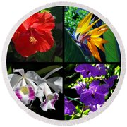 Tropical Flowers Multiples Round Beach Towel